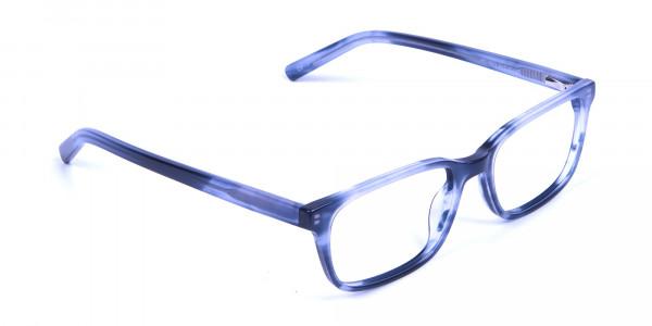 Tortoiseshell Blue Rectangular Glasses 1