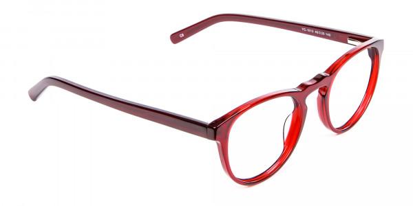 Cherry Red Round Glasses -2
