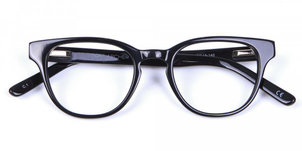 Thick Line Detailed Glasses in Black - 5