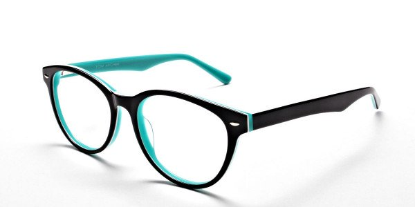 Black & Mint Round Eyeglasses -3