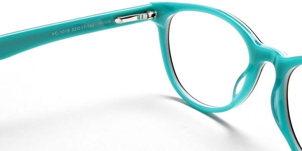 Black & Mint Round Eyeglasses-5