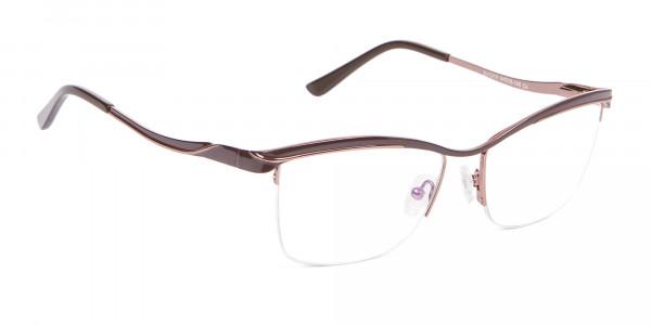 Glossy Brown Browline Half-Rimmed Glasses-2