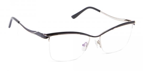 Woman Black Half-Rimmed Designer Glasses UK-2