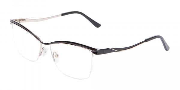 Woman Black Half-Rimmed Designer Glasses UK-3