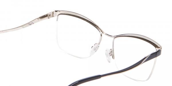 Woman Black Half-Rimmed Designer Glasses UK-5