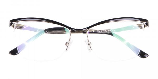Woman Black Half-Rimmed Designer Glasses UK-6
