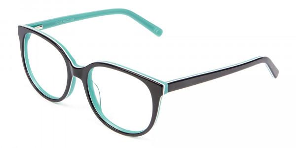 Wayfarer-Cateye Frame in Black and Mint Green - 2