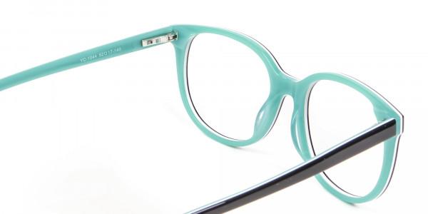 Wayfarer-Cateye Frame in Black and Mint Green - 5