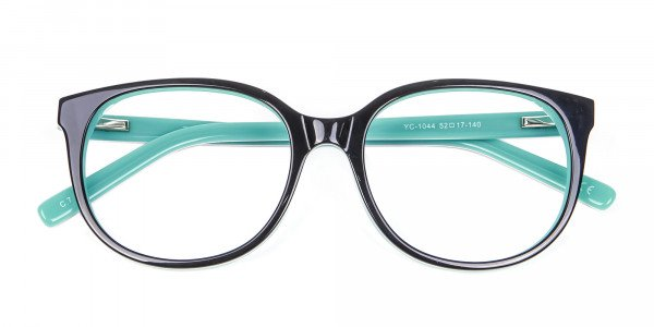 Wayfarer-Cateye Frame in Black and Mint Green - 6