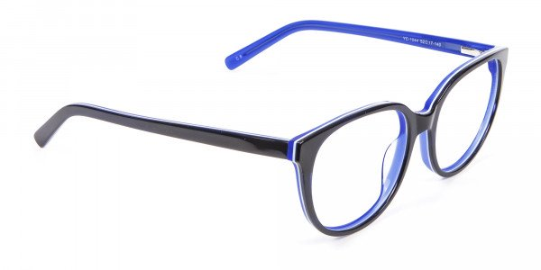 Black and Royal Blue Cat Eye Frame - 1
