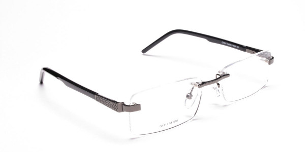 Rimless Glasses in Gunmetal with a Touch of Crocodile -2