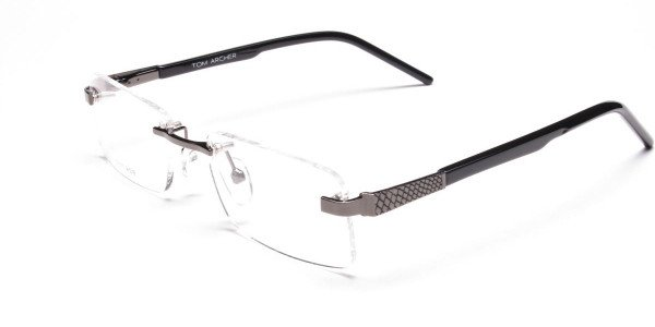 Rimless Glasses in Gunmetal with a Touch of Crocodile -3