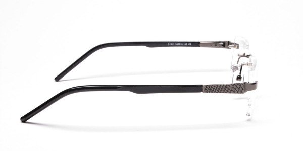 Rimless Glasses in Gunmetal with a Touch of Crocodile -4