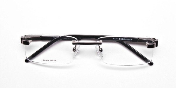 Rimless Glasses in Gunmetal with a Touch of Crocodile -6