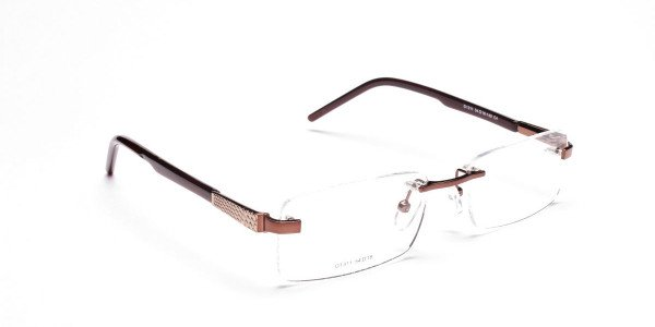 Brown Tone Rimless Glasses -2