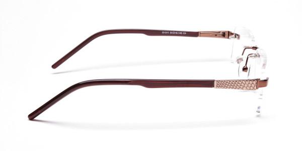 Brown Tone Rimless Glasses -4