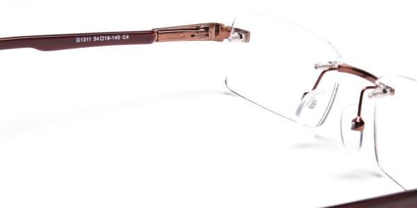 Brown Tone Rimless Glasses -5