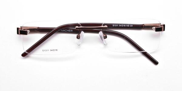 Brown Tone Rimless Glasses -6