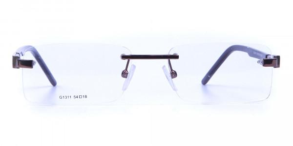 Brown Tone Rimless Glasses -1