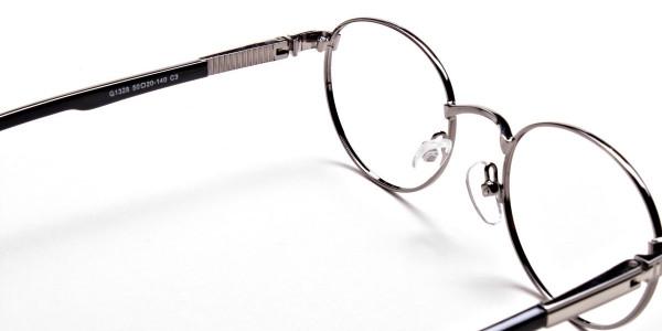 Round Glasses in Gunmetal, Eyeglasses - 5
