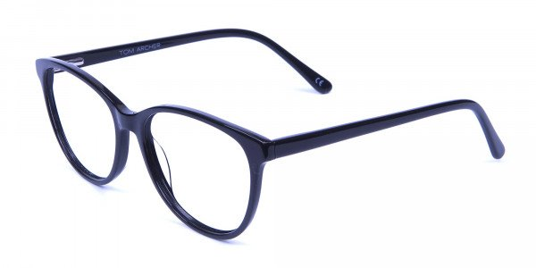 Smooth Curved Cat Eye Glasses in Black - 2