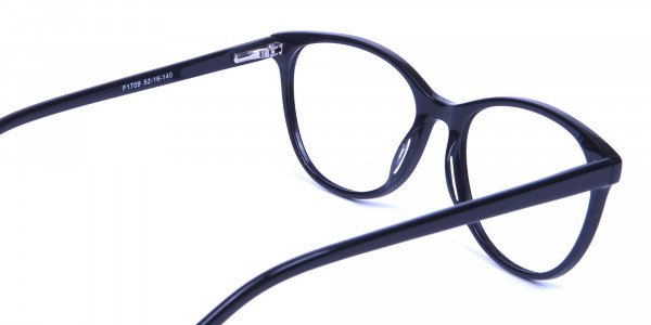 Smooth Curved Cat Eye Glasses in Black - 5