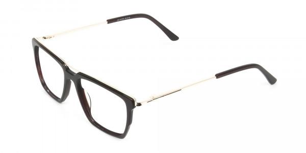 Dark Brown & Gold Double Bridge Glasses - 3