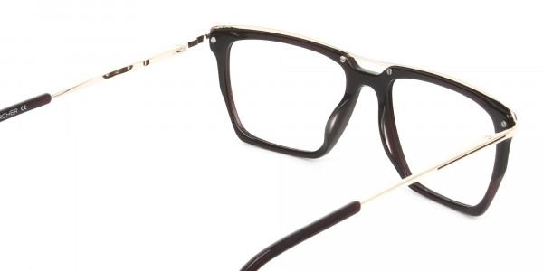 Dark Brown & Gold Double Bridge Glasses - 5