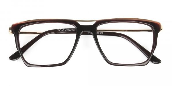 Dark Brown & Gold Double Bridge Glasses - 6