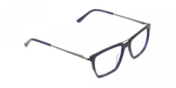 Mixed Material Glasses in Gunmetal Navy Blue - 2