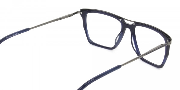 Mixed Material Glasses in Gunmetal Navy Blue - 5