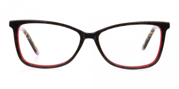 Dark Green Tortoise & Red Cat Eye Glasses Women-1