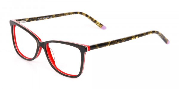 Dark Green Tortoise & Red Cat Eye Glasses Women-3
