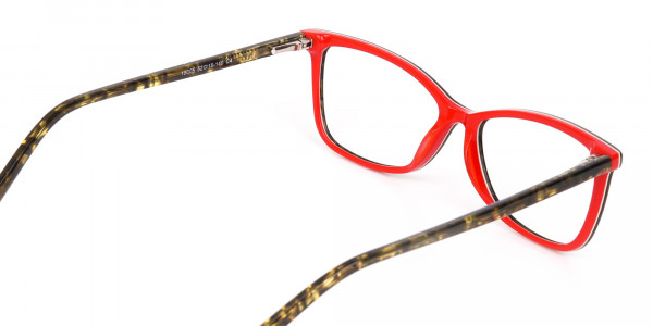Dark Green Tortoise & Red Cat Eye Glasses Women-5