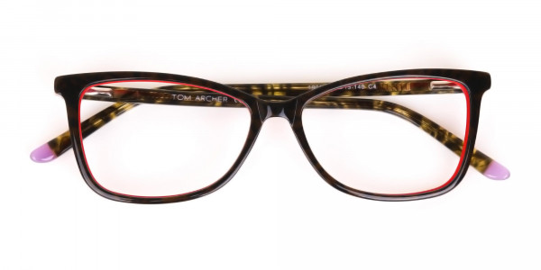 Dark Green Tortoise & Red Cat Eye Glasses Women-7