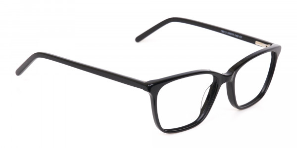 Black Rectangular Acetate Eyeglasses Unisex-2