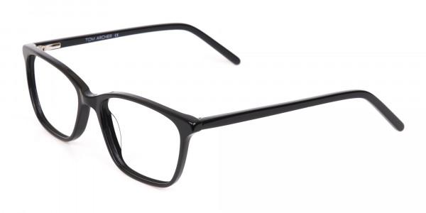 Black Rectangular Acetate Eyeglasses Unisex-3