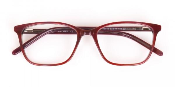 Rose Red Rectangular Acetate Eyeglasses Women-7