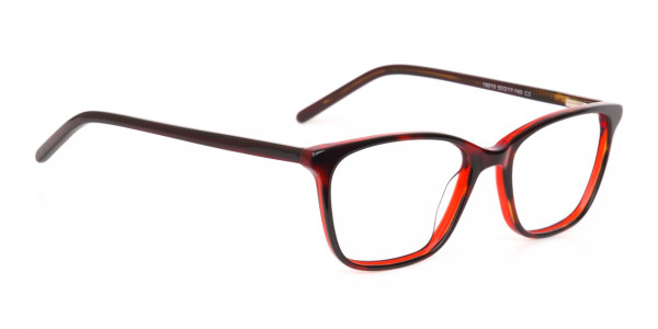 Dark Cherry Red Rectangular Glasses Frame Women-2