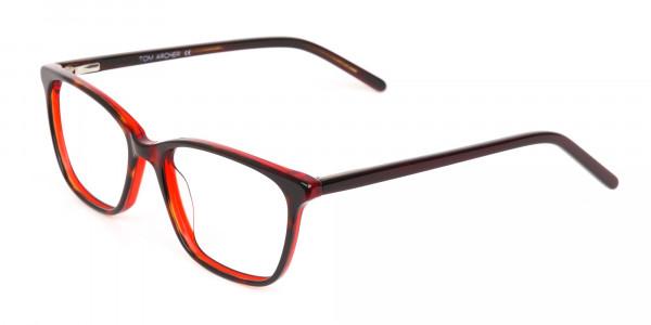Dark Cherry Red Rectangular Glasses Frame Women-3
