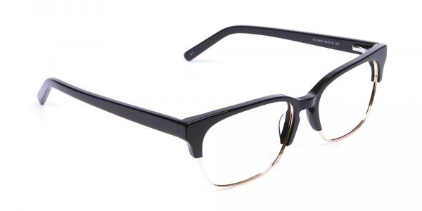 Black & Gold Browline Frames - 1
