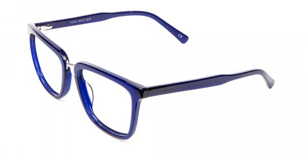 Navy Blue Rectangular Glasses -3