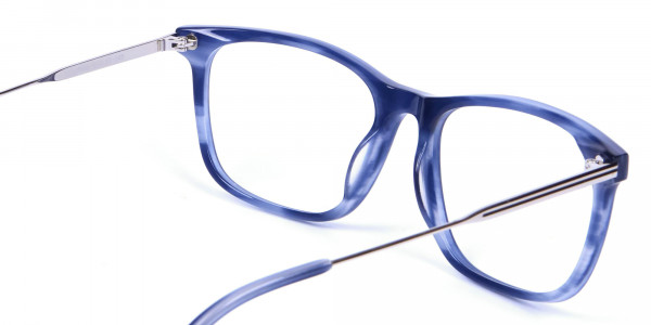 Blue Glasses in Marble Shade - 5