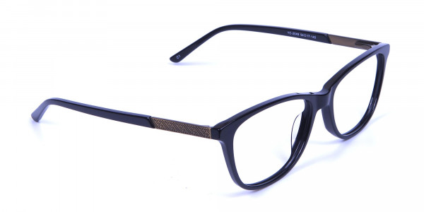 Black and Bronze Cat Eye Style Glasses - 1