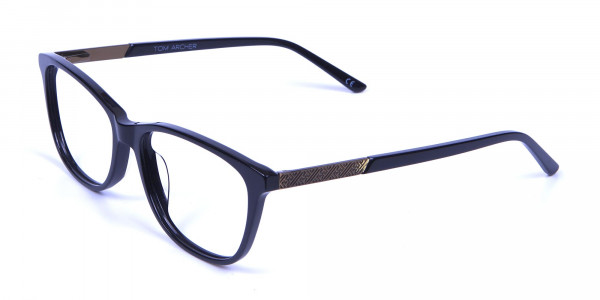 Black and Bronze Cat Eye Style Glasses - 2