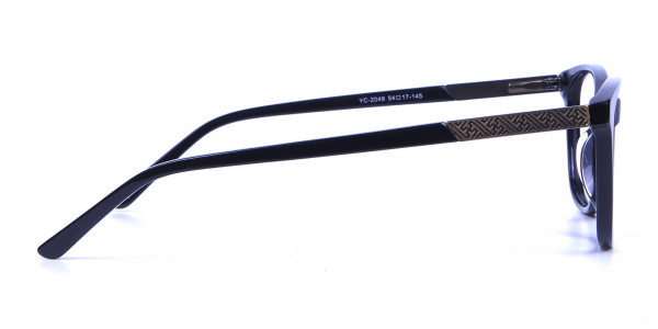 Black and Bronze Cat Eye Style Glasses - 3