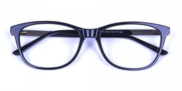 Black and Bronze Cat Eye Style Glasses - 5