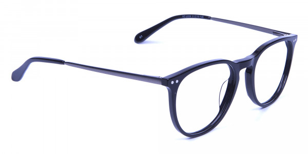 Glossy Black Round Glasses with Slim Arms - 1