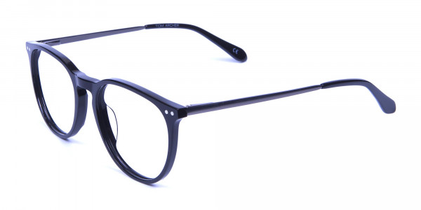 Glossy Black Round Glasses with Slim Arms - 4