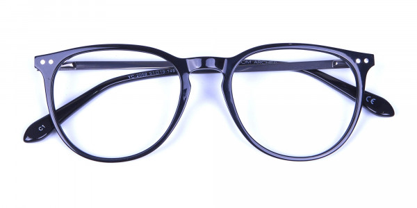 Glossy Black Round Glasses with Slim Arms - 5